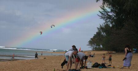 2 kite surf sur arc-en-ciel
